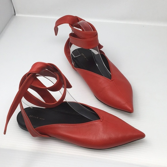 c30bcc54c Celine Shoes | Red Leather Pointy Toe Ankle Wrap Flats | Poshmark